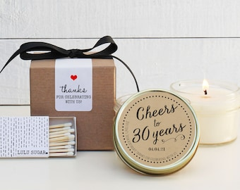 30th Birthday Party Favors - Cheers Design -| Soy Candle Favor | Milestone Birthday Party Favor | Birthday Favor | Birthday Candle | ANY Age