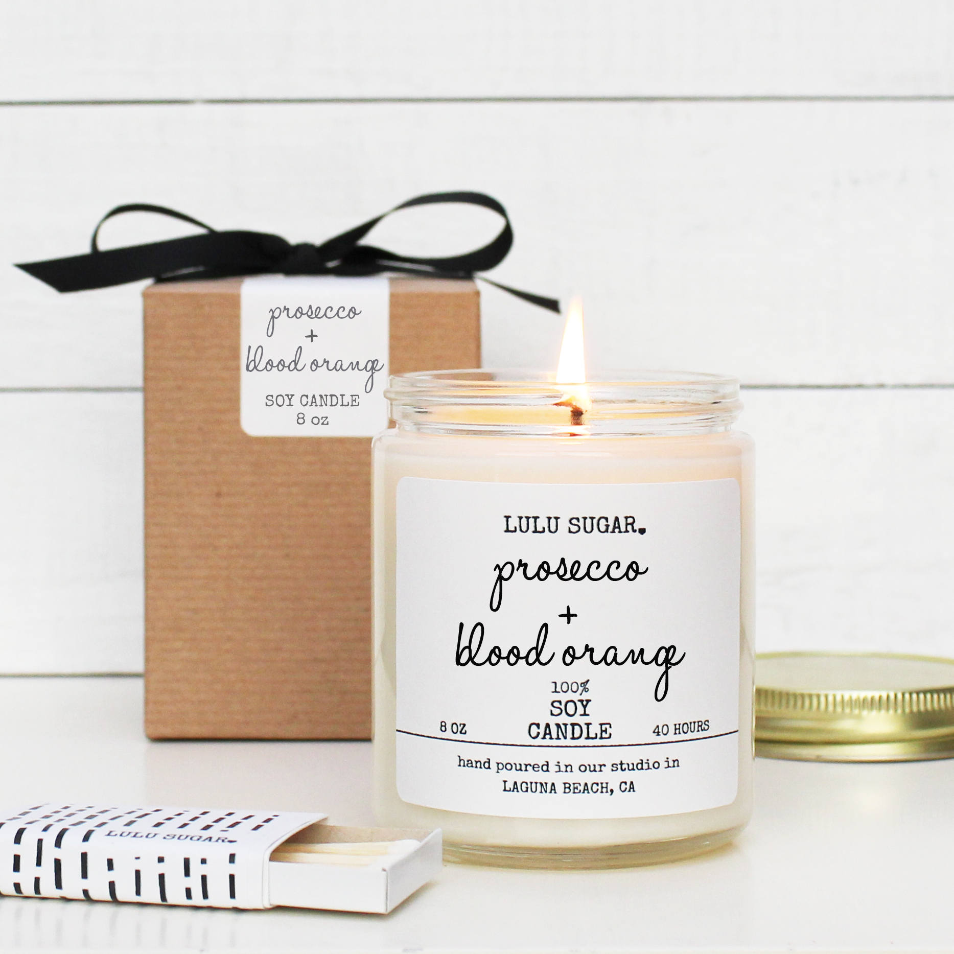Prosecco Blood Orange Scented Soy Candle - 8 oz Candle | Champagne ...