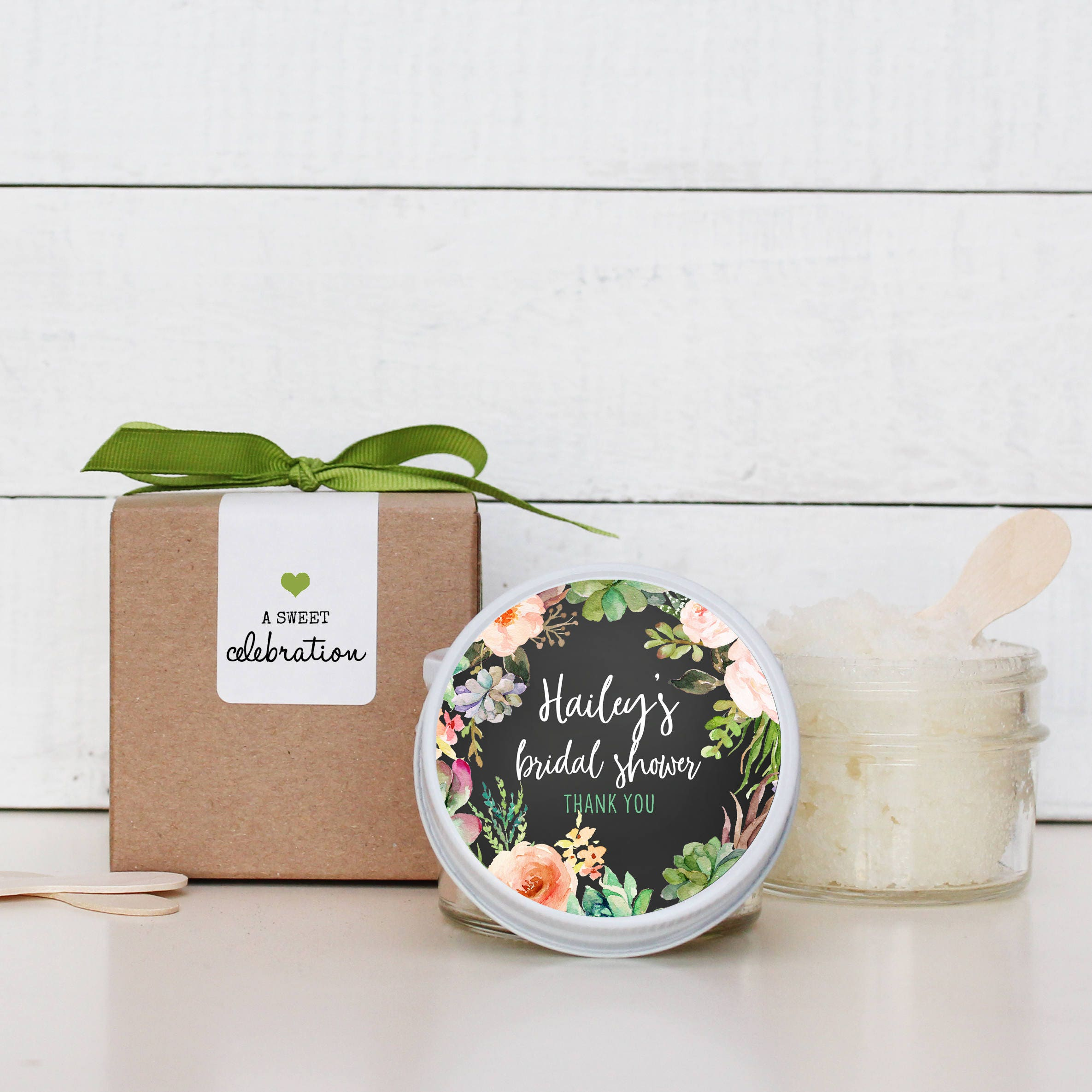 Sugar Scrub Shower Favors Flowers Succulents Label Bridal