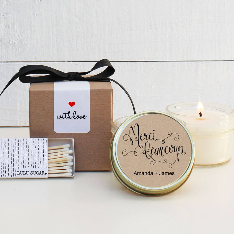 Wedding Favor Candles Merci Beaucoup Label Design Thank Etsy