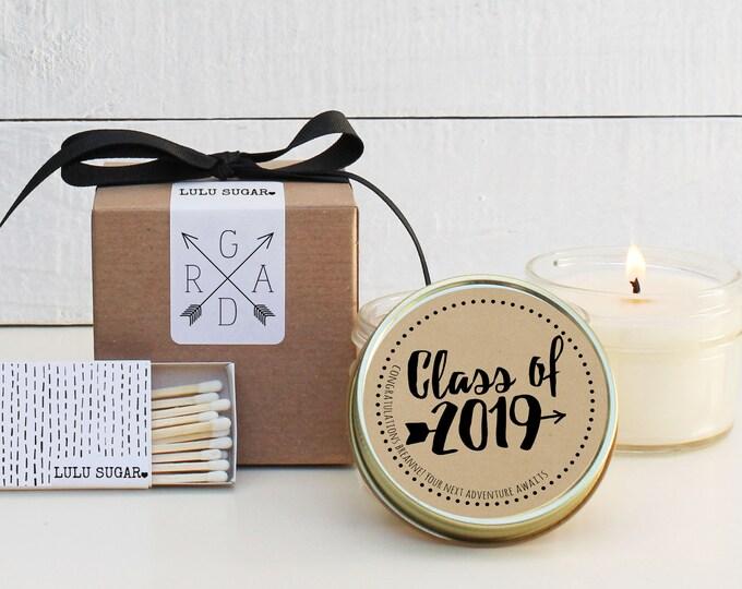Graduation Favors | Graduation Candles | Adventure Awaits Graduation Favor | Personalized Graduation Favors | Class of 2019 - Set of 6