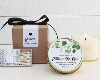 Memorial Service Candles - Eucalyptus Branch Memorial Candles - Personalized Memorial Service Favors | In Memory of Candles | Funeral Candle