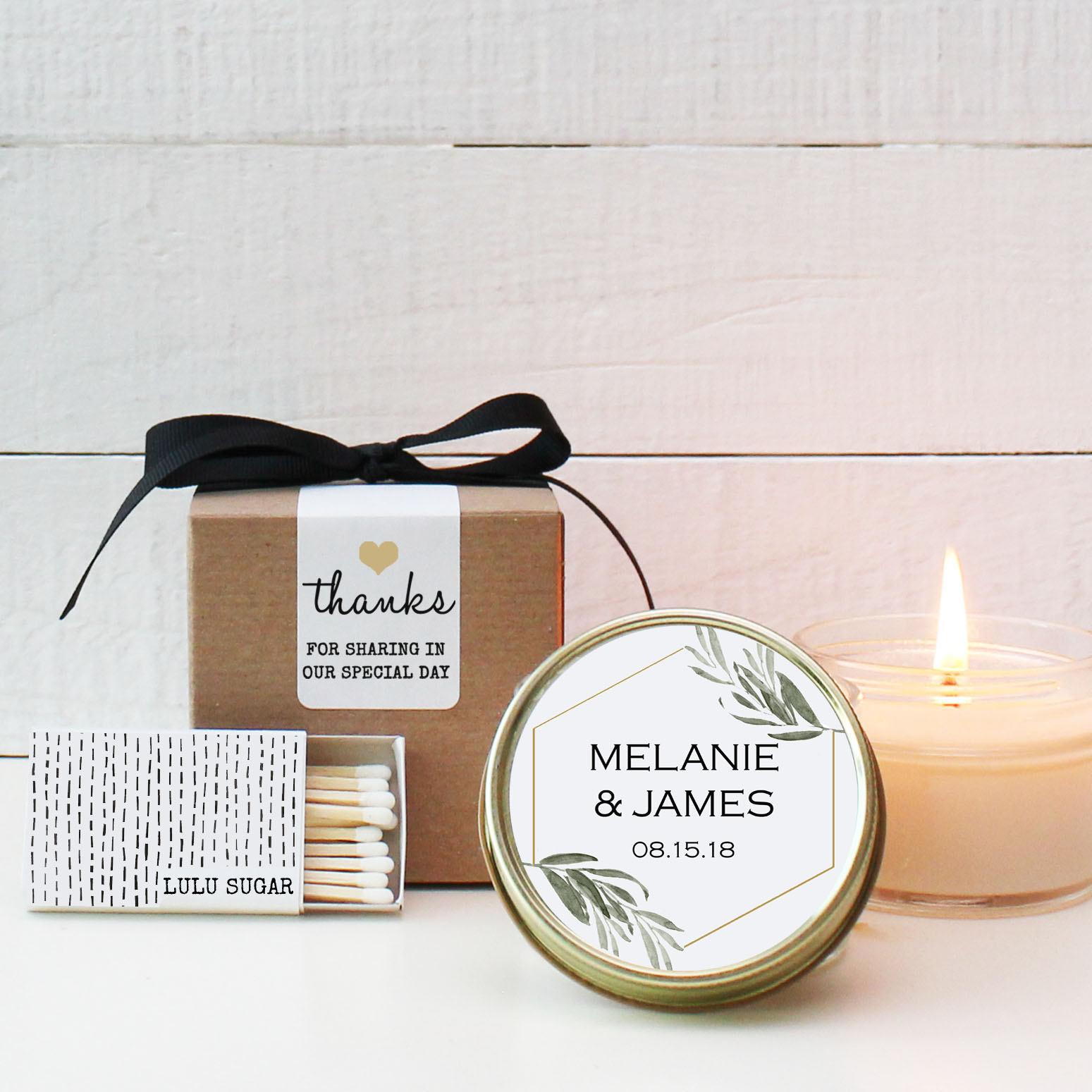 Set of 6 - 4 oz Soy Candle Wedding Favors - Minimalist Label Design ...