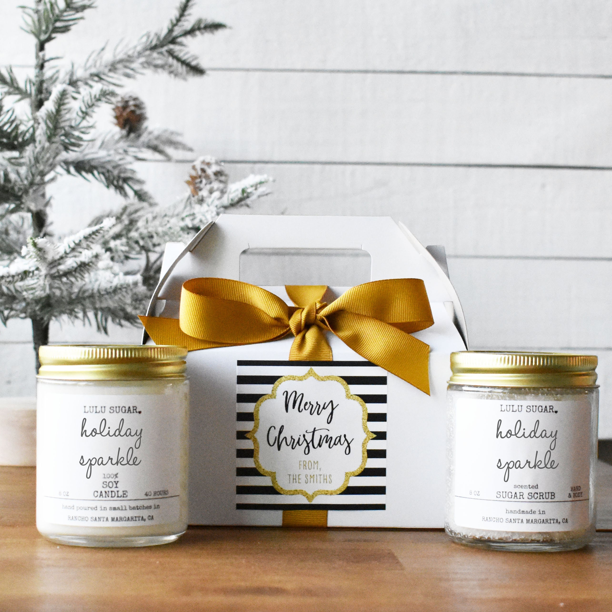 Candle and Sugar Scrub Gift Set - Boxed with Sparkle Merry