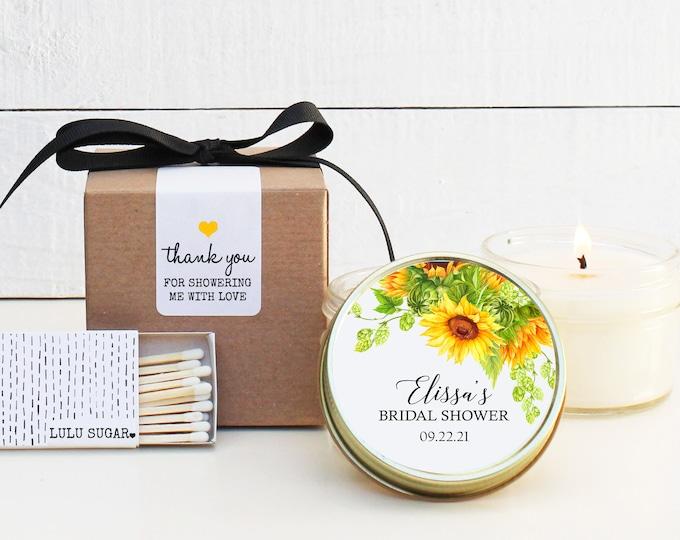 Sunflower Bridal Shower Favors | Bridal Shower Candles | Personalized Favor Candles | Candle Favors | Bridal Shower Idea | Shower Favor Idea