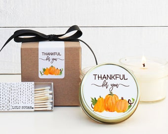 Thanksgiving Candle Favors - Thankful for You Design - Thanksgiving Table Favor | Thanksgiving Favors | Fall Candle