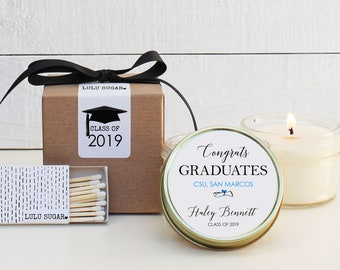 Graduation Favors | Graduation Candles | Personalized Favor Candles| Personalized Graduation Favors | Class of 2019 Favors  - Set of 6