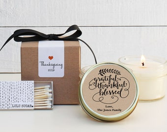 Thanksgiving Candle Favors - Grateful, Thankful, Blessed Design - Thanksgiving Table Favor | Thanksgiving Favors | Fall Candle