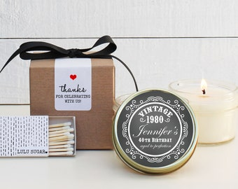 40th Birthday Party Favors - Aged to Perfection Design - Soy Candle Favor | Milestone Birthday Party Favor | Birthday Favor | ANY Age