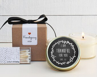 Friendsgiving Favor Candles | Laurel Thankful Label Design | Fall Candles | Friendsgiving Candle | Friendsgiving Gift