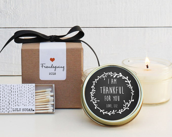 Friendsgiving Favor Candles   Laurel Thankful Label Design   Fall Candles   Friendsgiving Candle   Friendsgiving Gift