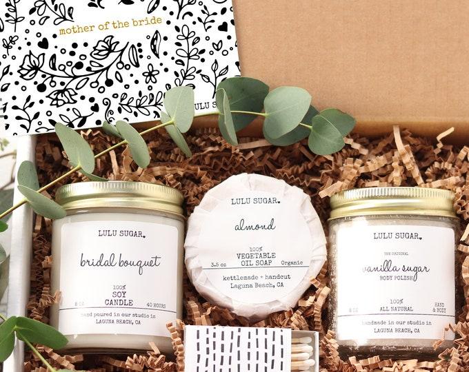 Mother of the Bride Gift   Personalized Mother of the Bride Gift Set   Gift for Mom   Lulu Sugar Candles   Bridal Party Gift