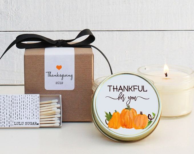 Thanksgiving Candle Favors - Thankful for You Design - Thanksgiving Table Favor   Thanksgiving Favors   Fall Candle