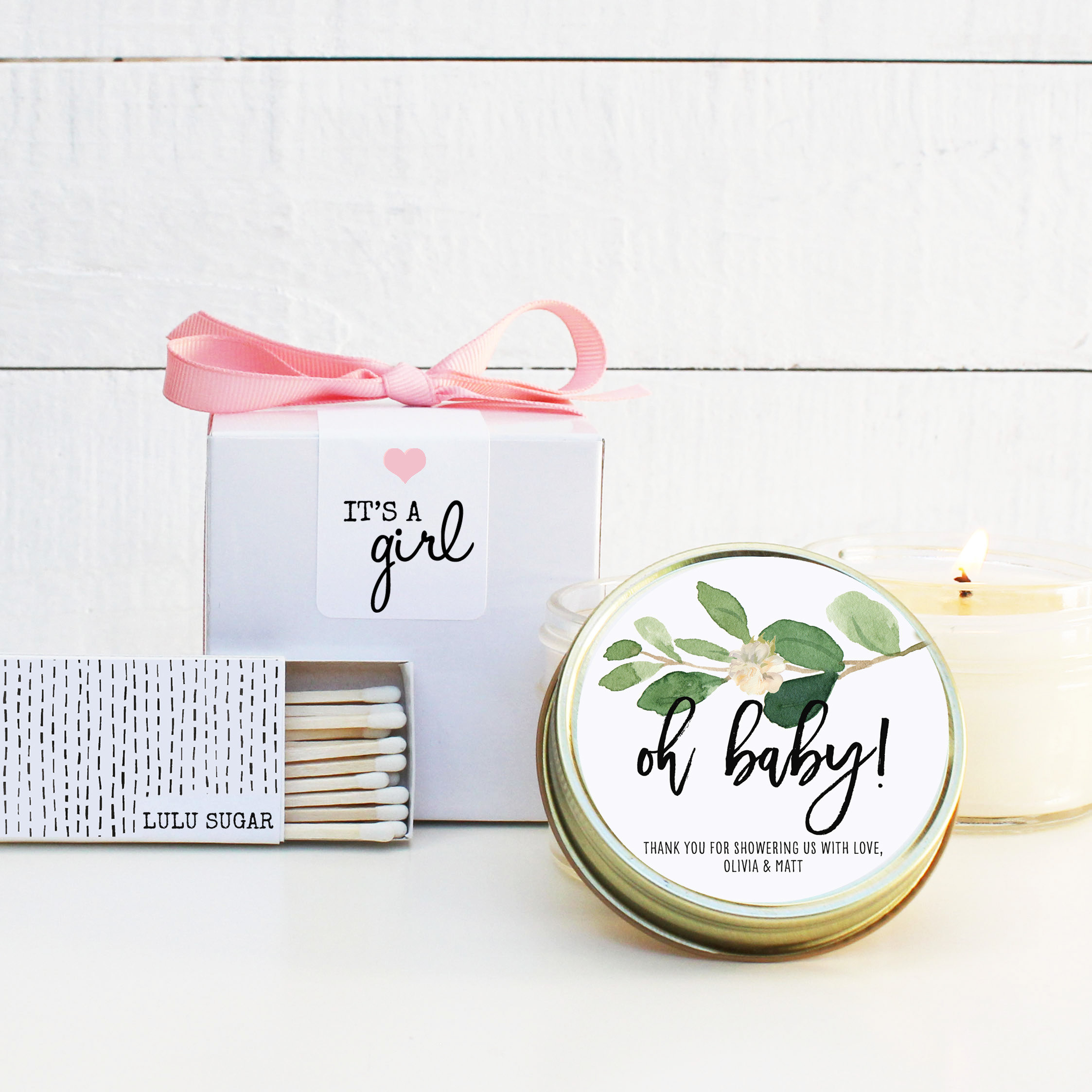 Baby Shower Favor Candles Oh Baby Greenery Label Personalized