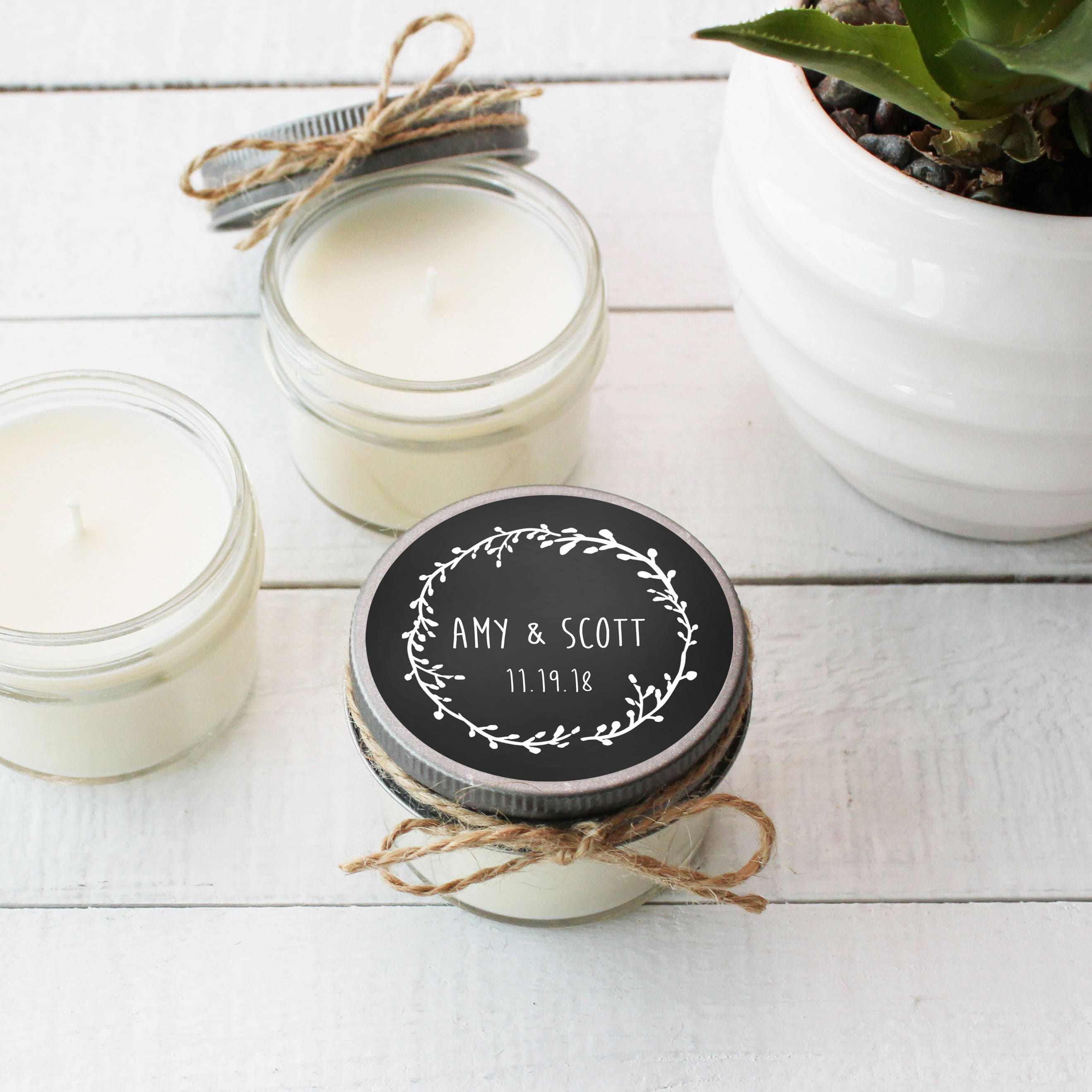 Set of 12 4 oz Soy Candle Wedding Favors Wedding Favor