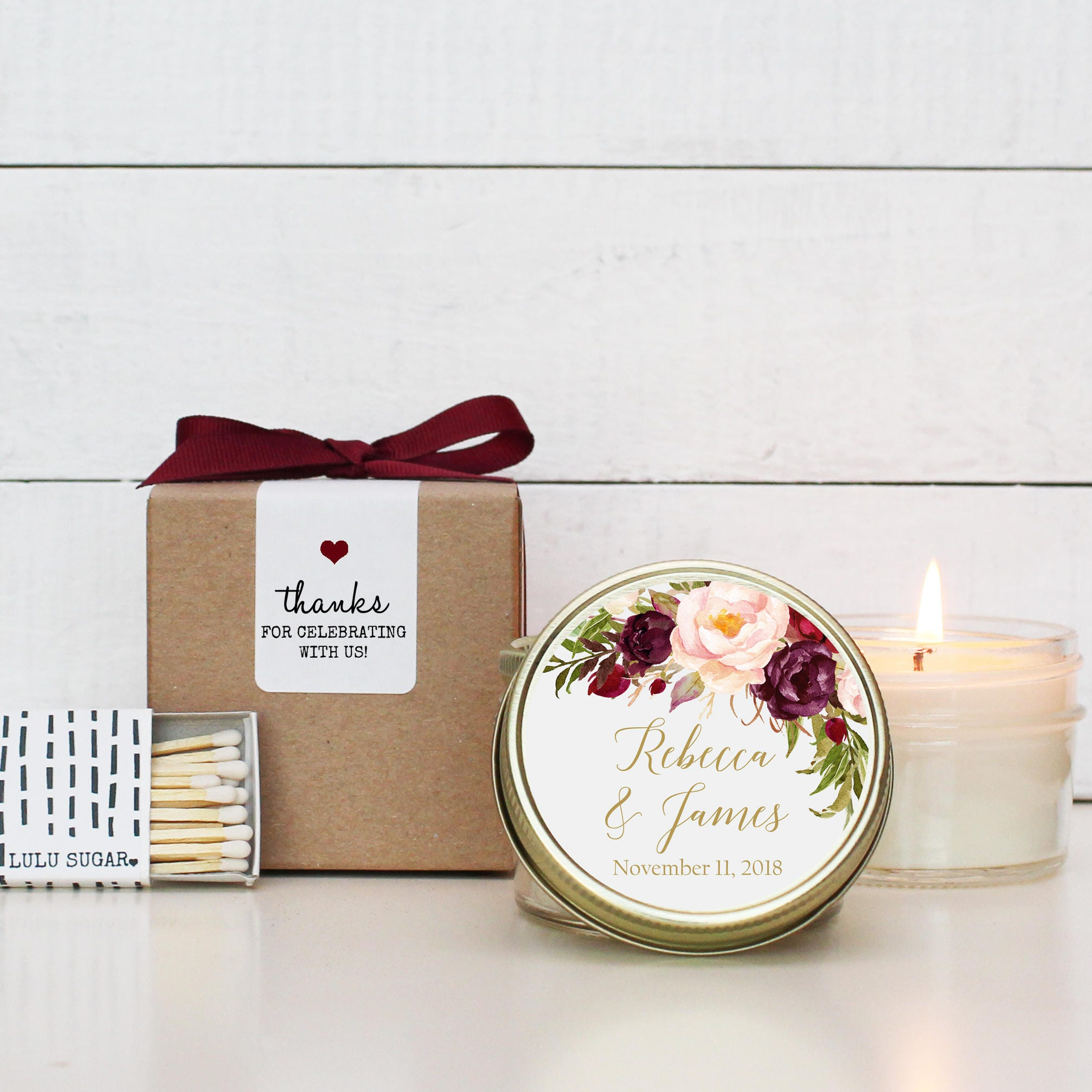 Set of 6 - 4 oz Soy Candle Wedding Favors | Marsala Floral Label ...