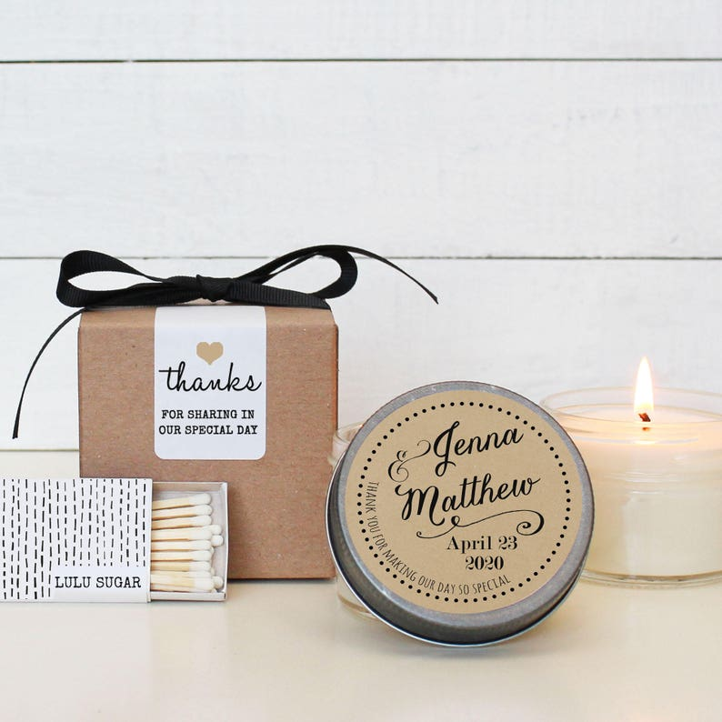 59f506d0f2ac Set of 6 - 4 oz Soy Candle Wedding Favors - Jenna Label Design -  Personalized Wedding Favors   Wedding Favor Candles   Wedding Favors