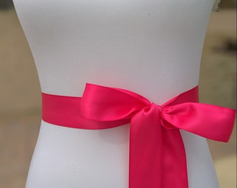 Hot Pink Sash-Wedding Belt-Bridesmaid Sash-Flower Girl Sash-Bridesmaid Belt-Bride Belt-Pink Ribbon-Satin Ribbon-Plain Sash-1.5in Simple Sash