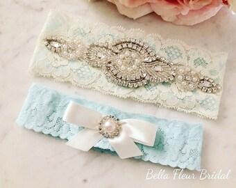 Ivory and Blue Garter Set, Something Blue, Rhinestone Garter, Bridal Garter, Blue Wedding, Wedding Gift, Vintage Garter, Lace Garter