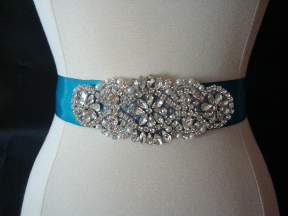 Wedding Dress with Blue Rhinestones