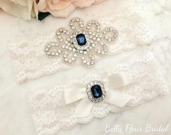 Wedding Garter - Bridal Garter - Ivory and Blue Crystal Rhinestone and Pearl Garter and Toss Garter Set