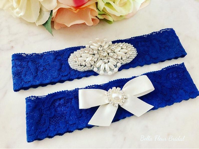 Prom Garter Something Blue Blue Lace Garter Rhinestone Garter Bridal Garter Belt Toss Garter Royal Blue Wedding Garter