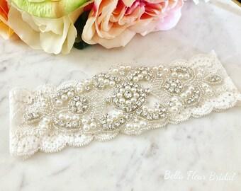 Lace Wedding Garter, Rhinestone Garter, Pearl Keepsake Garter, Bridal Garter Set, Heirloom Garter, Vintage Garter, Wedding Accessories