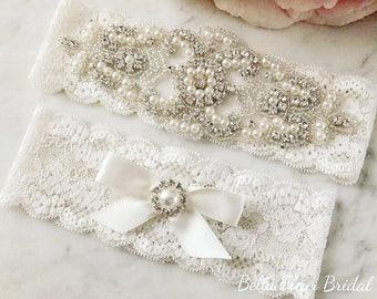 Wedding Garter - Bridal Garter - Pearl and Crystal Garter - Vintage Lace Garter Set - Bridal Lingerie - Ivory Garter - Prom Garter