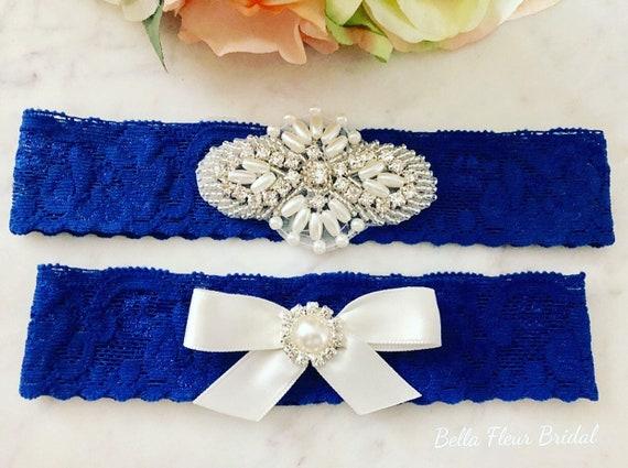 7eb2e1e70 Royal Blue Wedding Garter Something Blue Bridal Garter Belt