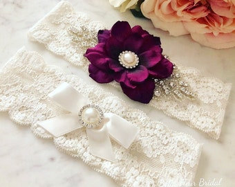 Purple Wedding Garter Set - Lace Rhinestone Garter - Pearl Garter - Ivory Bridal Garter - Toss Garter - Wedding Garter Belt, Flower Garter