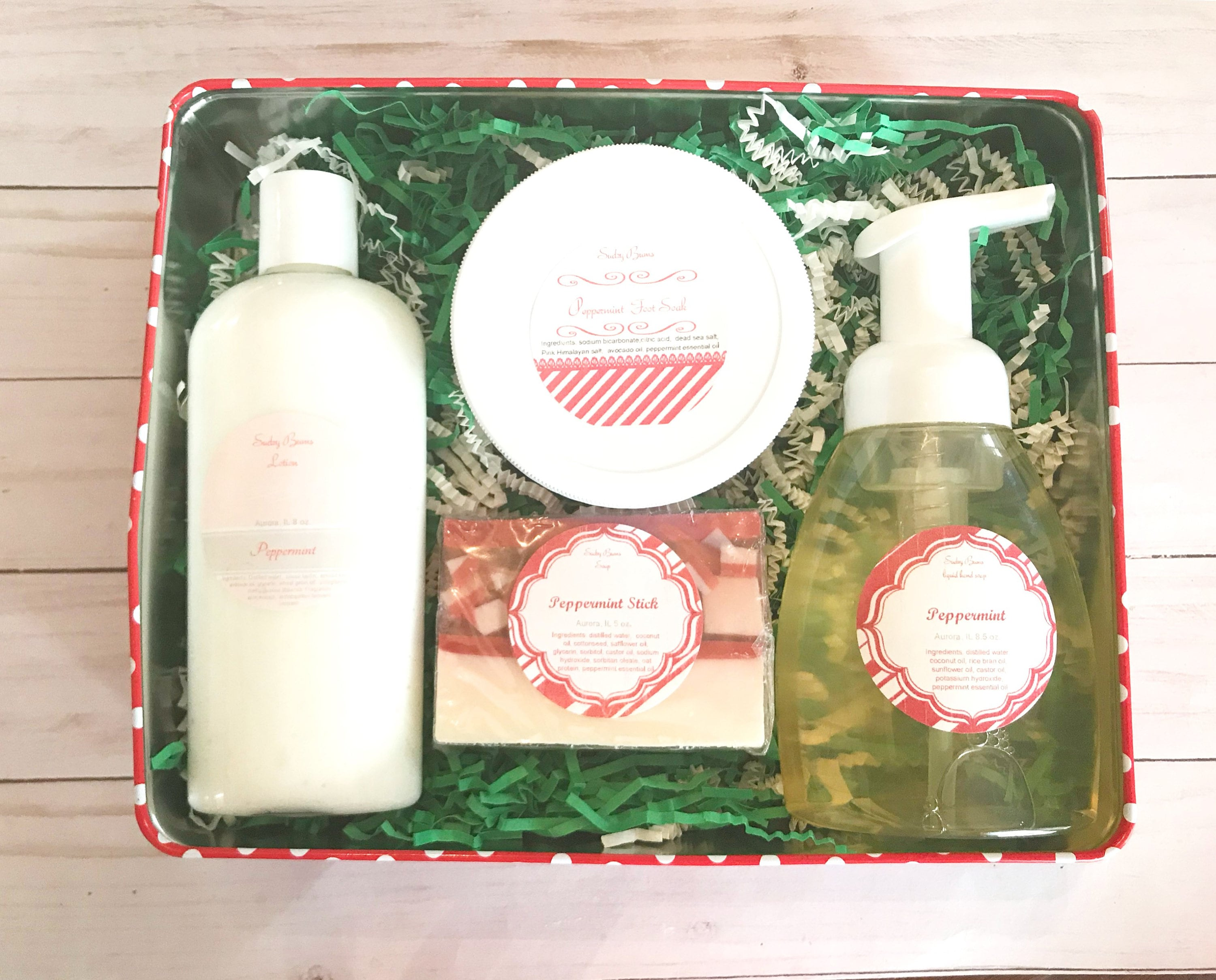 Christmas t set Peppermint Gift set holiday t tin
