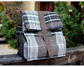 Coffee & Plaid Lunch Box / Insulated lunch bag for men and women / Lunch tote / Gift for him/ FREE Personalization