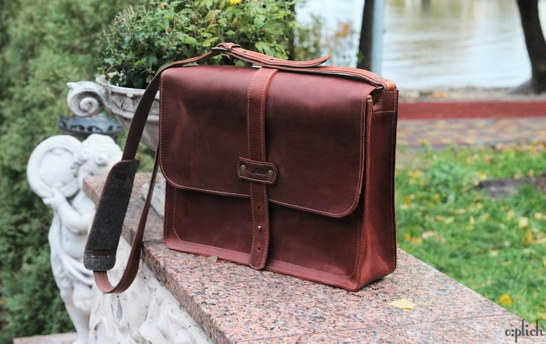 658e93b892d Cognac brown mens messenger bag leather/ Laptop bag /Computer | Etsy