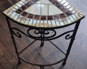 Triangular Corner Mosaic Table Plant Stand With Broken Vintage China Top