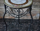 Mosaic Table Black Metal Base Plant Stand Accent Table With Vintage Broken China Mosaic Top