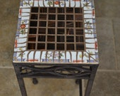 Mosaic Square Metal Table Plant Stand With Broken Vintage China