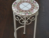 Mosaic Table Plant Stand Accent Table With Broken Vintage China Top With Pink Roses