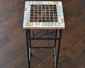 Mosaic Table Plant Stand Accent Table With Broken Vintage China Top