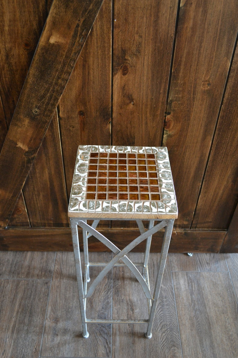 Super Contemporary Broken China Mosaic Industrial Accent Table Plant Stand Caraccident5 Cool Chair Designs And Ideas Caraccident5Info