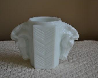 Macbeth Evans Double Horse Head Milk Glass Jar 1930's Art Deco