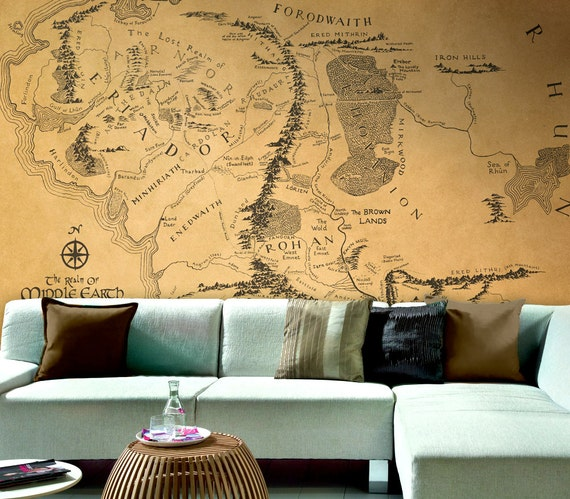 Lord of the Rings map Wallpaper Middle Earth map large | Etsy