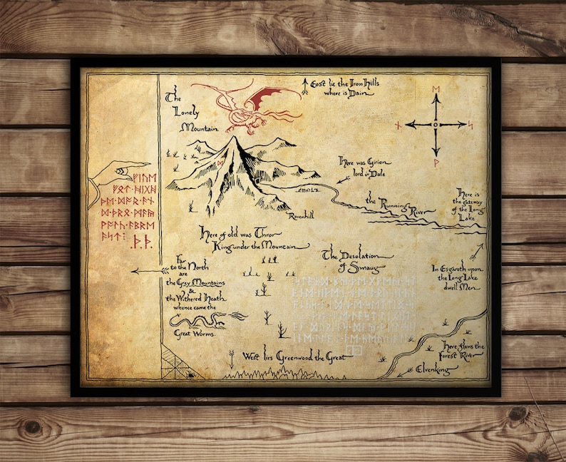 Lord Of The Rings Map Poster Print Middle Earth Map Etsy