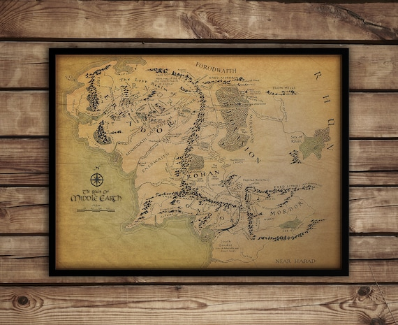 Middle Earth map Lord of the Rings poster print Hobbit | Etsy