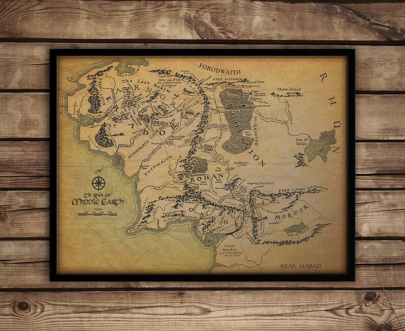 Framed Middle Earth map on SALE Lord of the Rings print | Etsy