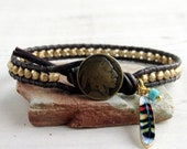 Gold Bead Leather Wrap Bracelet with Indian Head Button and Feather, Native American Style Jewelry, Unisex