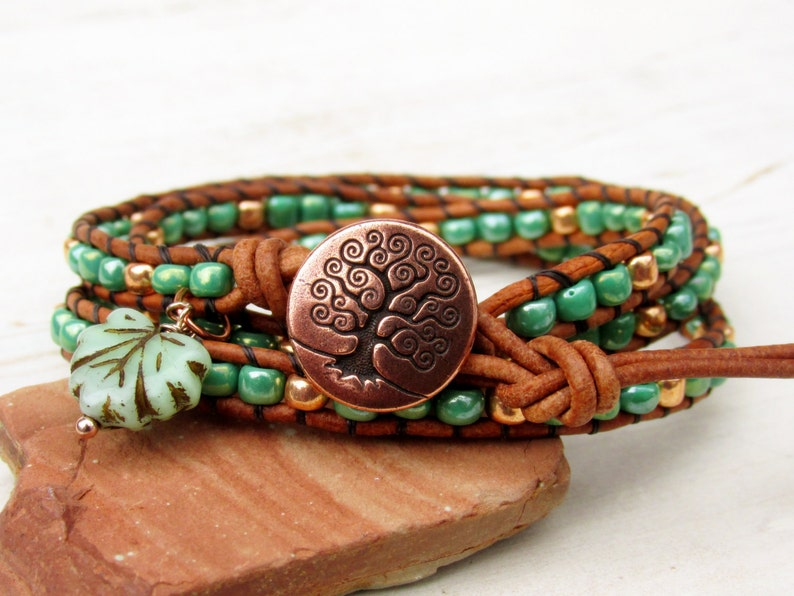 ac8d451683cb Tree of Life Triple Wrap Leather Bracelet Green and Rose Gold