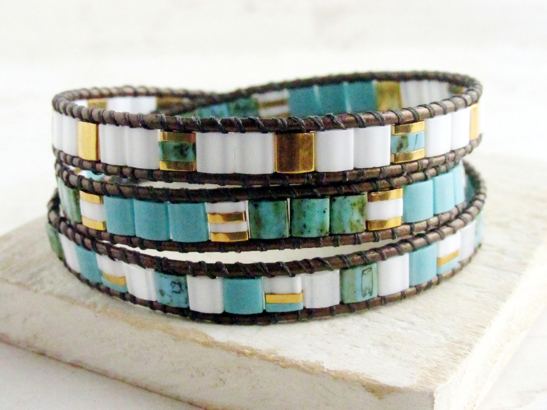 Wrap bracelet leather wrap bracelet white with gold  boho bracelet boho jewellery