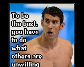 """Swimming Inspirational Poster, Motivation Quote Wall Art, Gift, fan, Swim Photo Wall Decor, Kids, Bedroom, Home, Michael Phelps 5x7"""" 11x14"""""""
