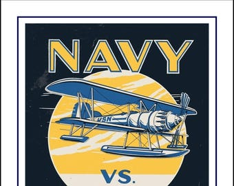 """Vintage 1920s Notre Dame, Navy, Football Poster, Retro Military Illustration Wall Art, Gift for Him, 1929 Art, Home Decor, 8x10"""", 11x14"""""""