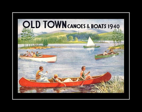 1940 Old Town Canoe Poster, Dad Birthday Housewarming Gift For Men, Vintage  Boat Illustration, Fly Fishing Wall Art Decor, 8x10